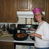 Julie preppin' the turkey....