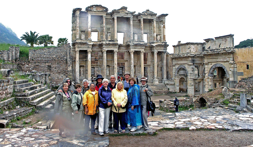 Apr 29.  Our group in Ephesus.  Another raindrop on the lens.