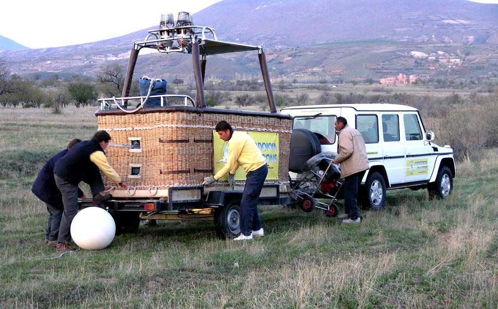 Apr 18.  Unloading our gondola for a balloon ride over Cappadocia.