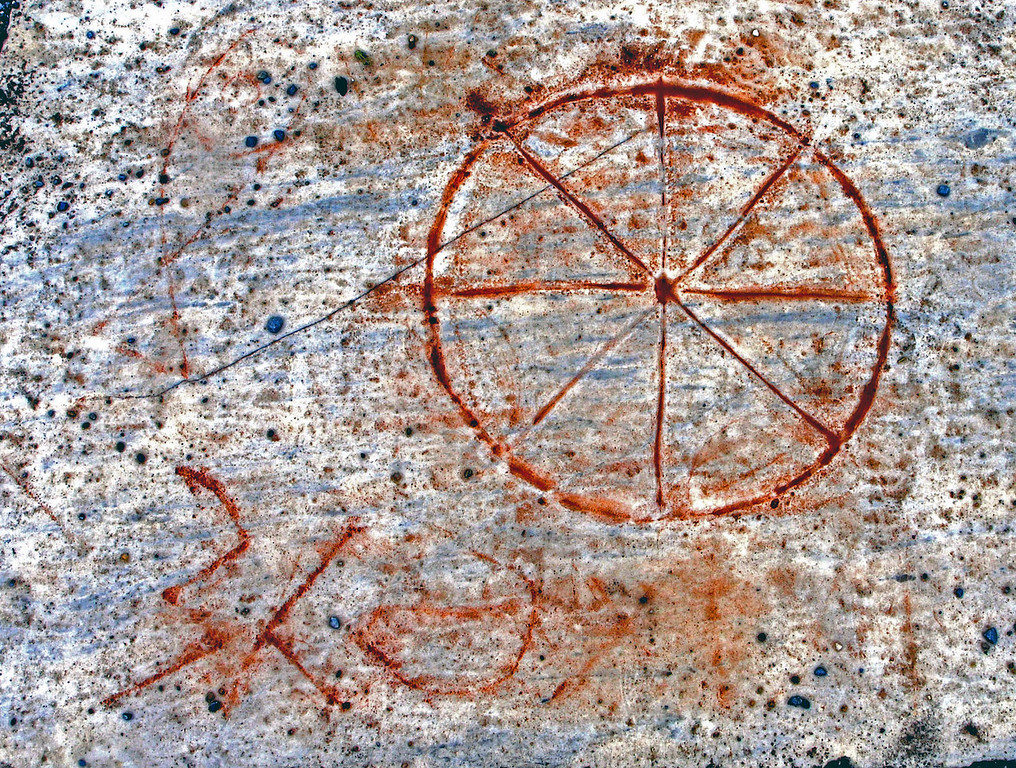 """Apr 29.  """"Christ"""" scratched in stone."""