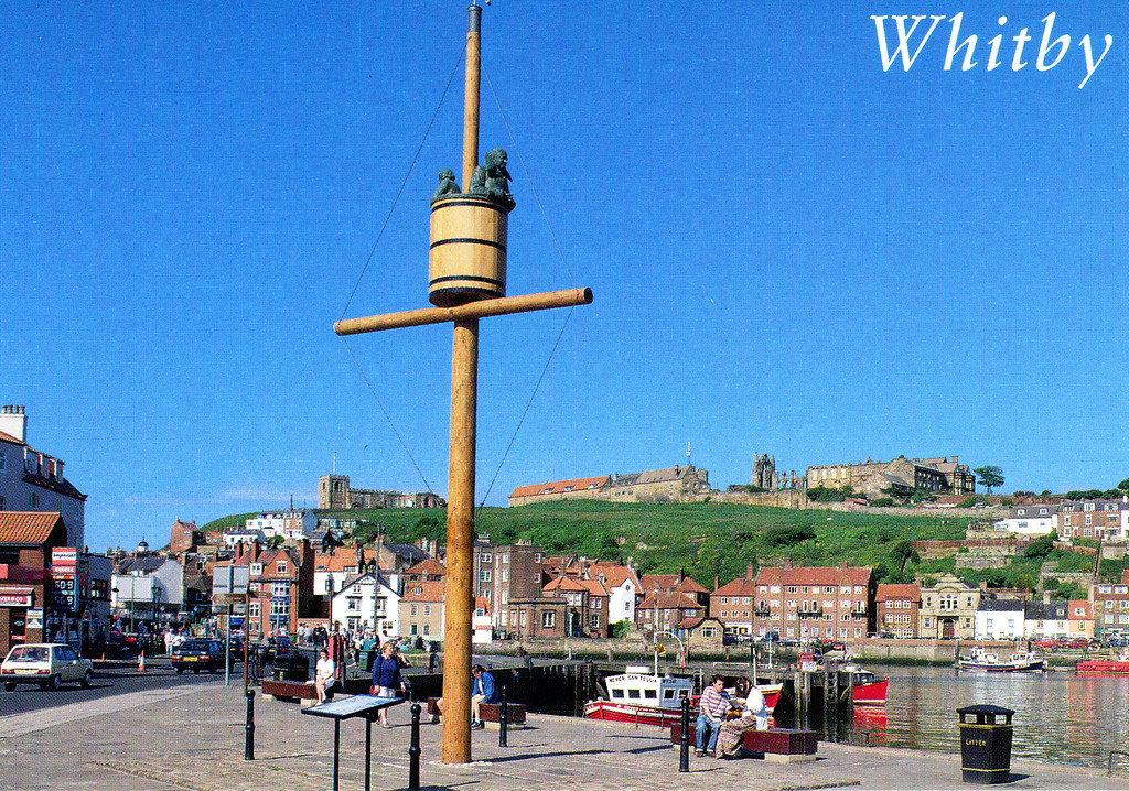 1997-07-30 Postcard of the Memorial in Whitby to the man who invented the crow's nest.