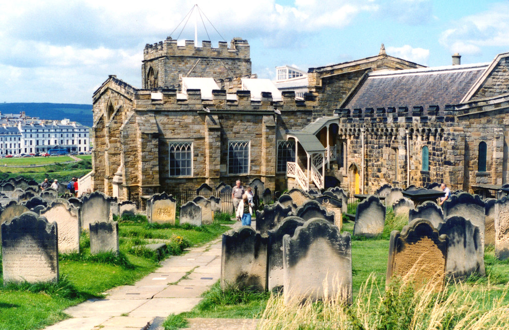 1997-07-30 The Whitby Cemetery on top of the hill, where Dracula is buried.  It was Whitby where Dracula landed when he came to England.