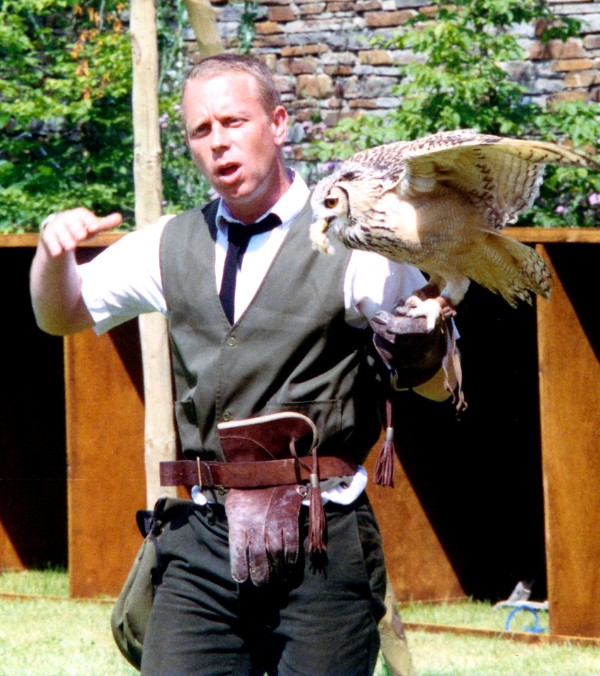 1997-07-20 A demonstration of falconry at Llancaiach Fawr Manor.