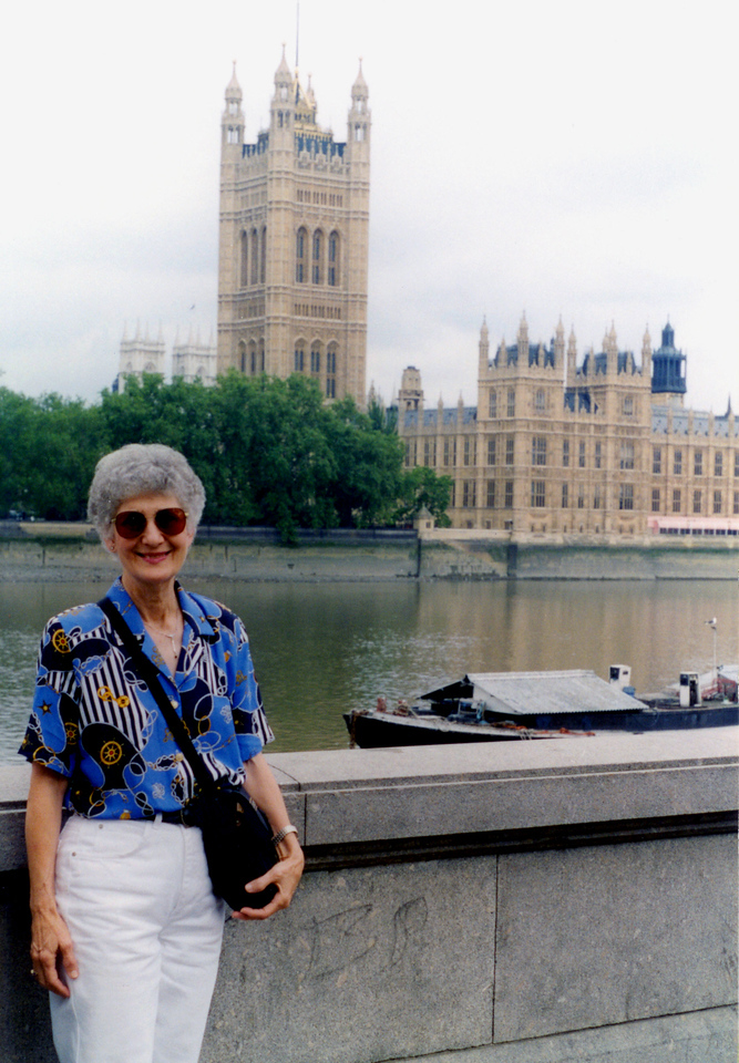 1997-08-03 Betty beside the Thames River, across from the British Parliment.