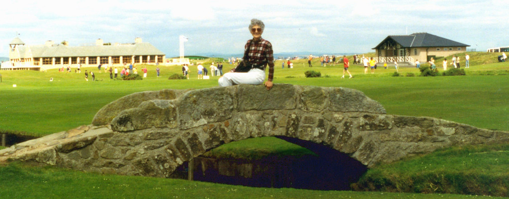 1997-07-27 Betty rests on the famous Swilcan Bridge on the St Andrews Golf Course.