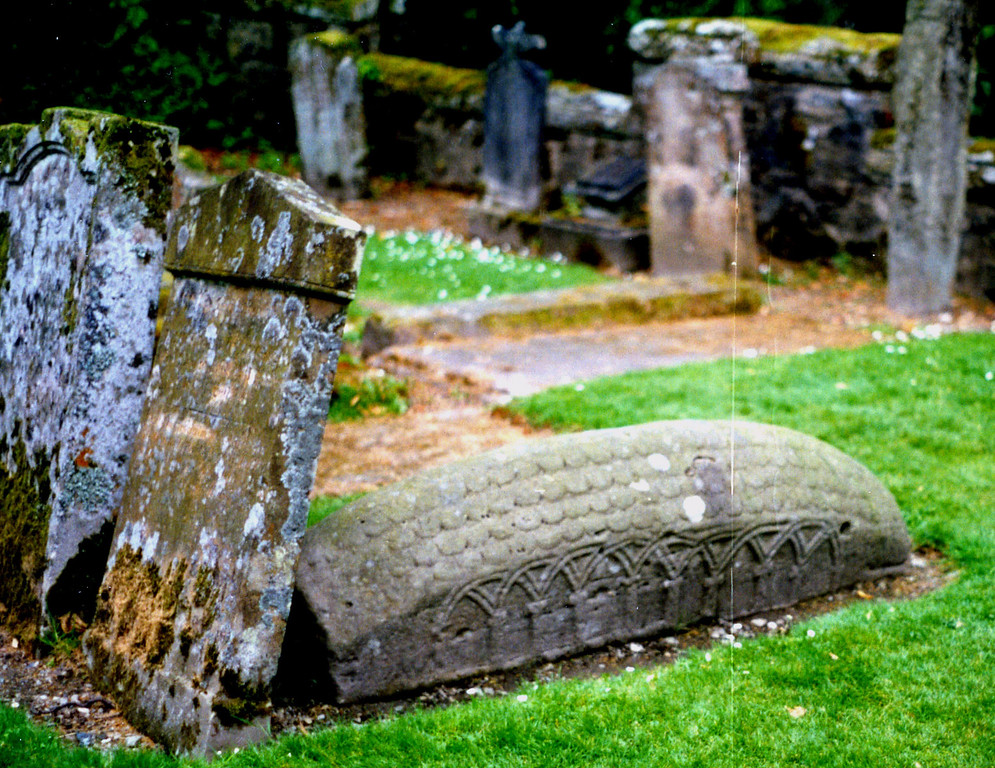 1997-07-26 At Luss, a Viking burial stone, unusual for this area.  Luss, near Loch Lomand, is the ancient homeland of the Colquhoun Clan.
