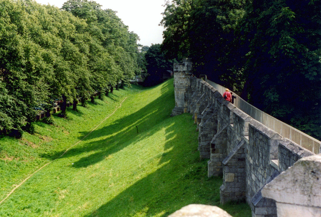 1997-07-29 The ancient wall around York.  We walked it quite a distance.