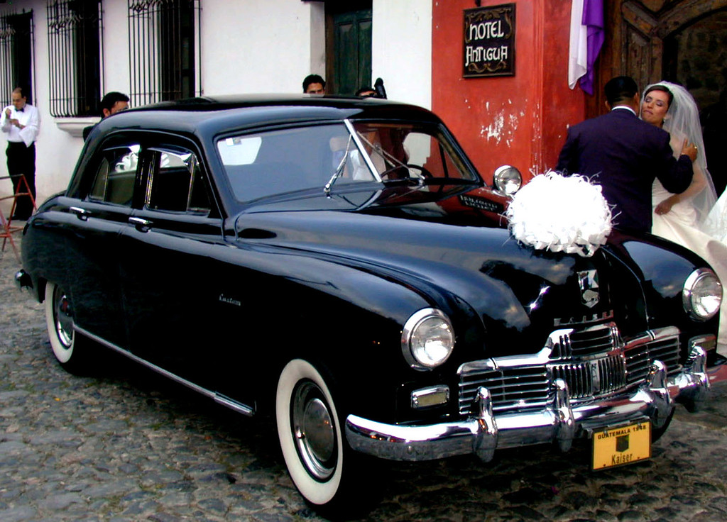 Mar 19.  At the hotel that evening a wedding ceremony took place.  The bride and groom drove up in, and left in, this 1948 Kaiser.