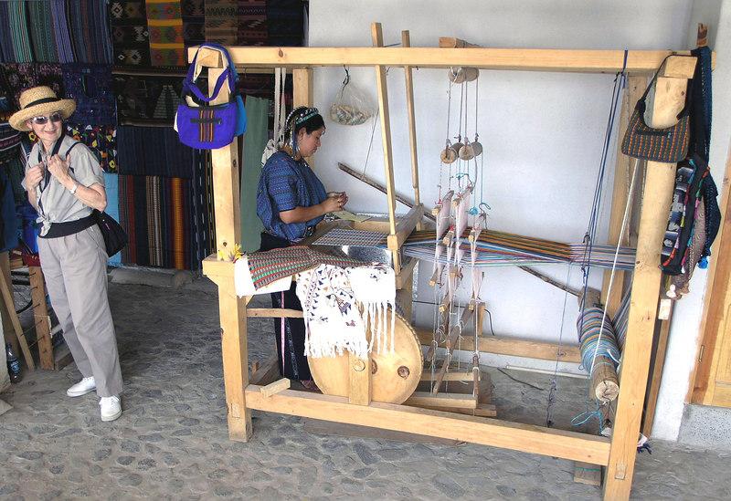 Mar 18.  Betty exploring in a weaver's shop.