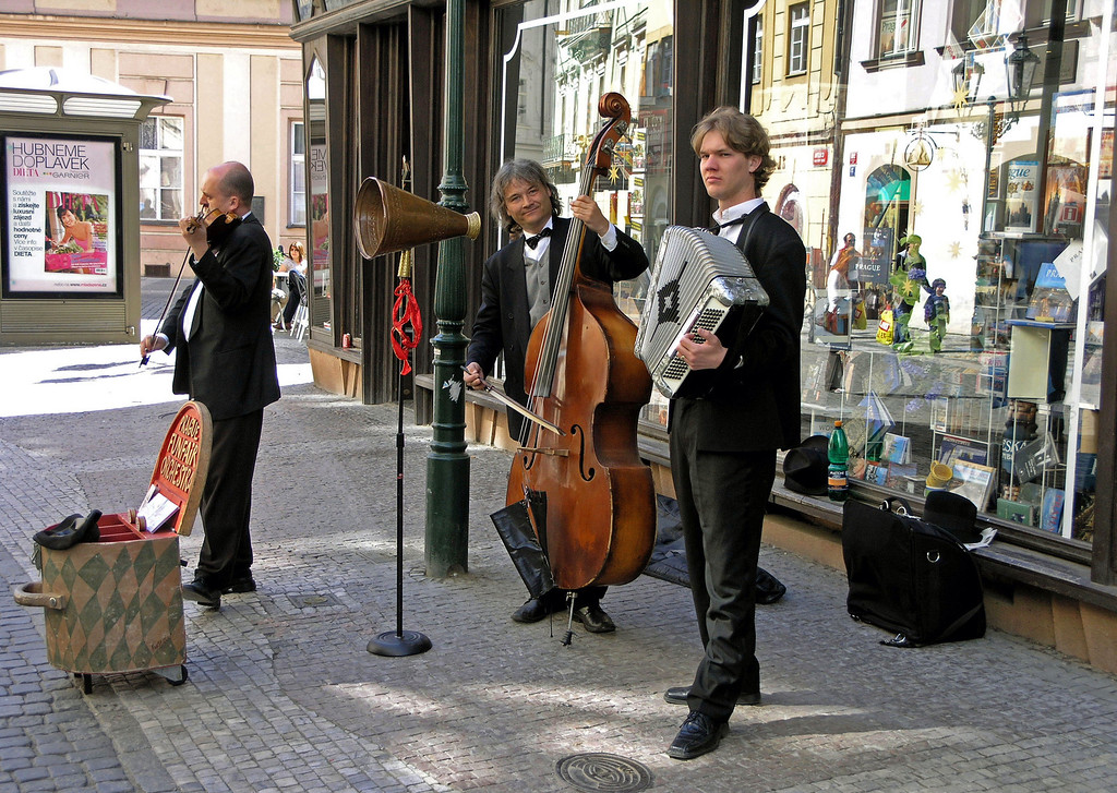 April 14.  Street performers are all over Prague.
