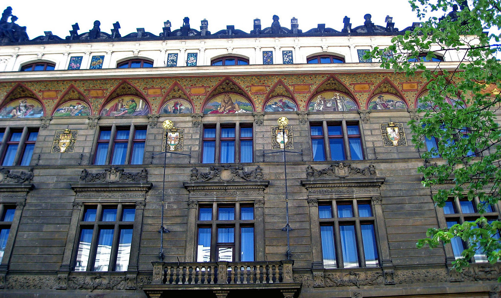 April 14.  Many buildings around Prague are decorated with art work.