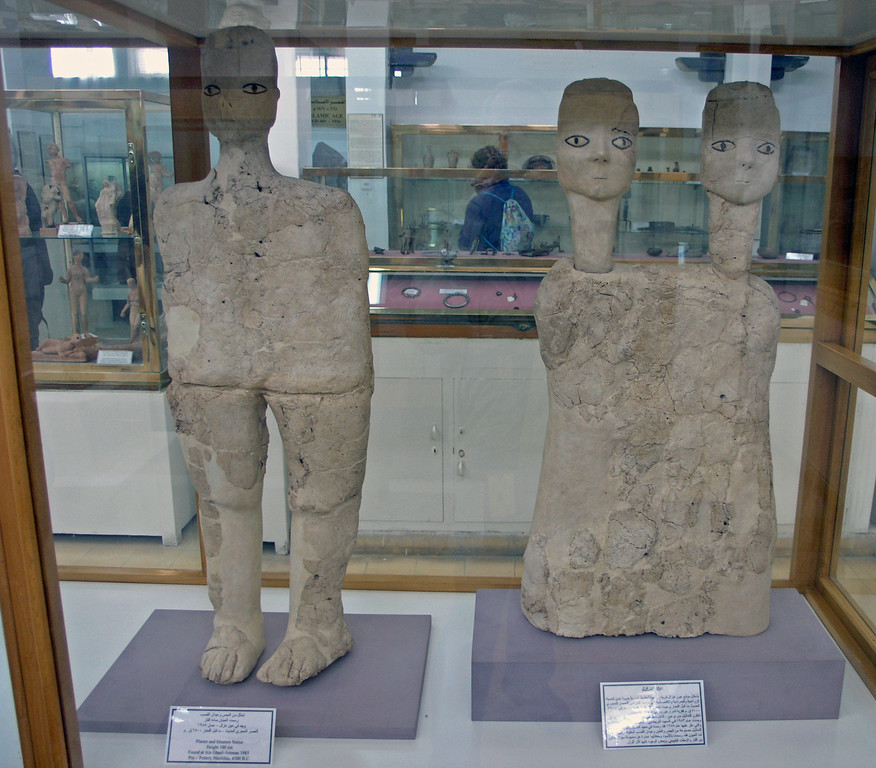 "Feb 17.  A sign says ""Statues of Ain Ghazal - Discovered in 1983 at Ain Ghazal Ammon and made from plaster, representing human models, dated to Early Neolithic period 8000-6000 B.C.  It is the earliest statues ever done throughout human civilization."""