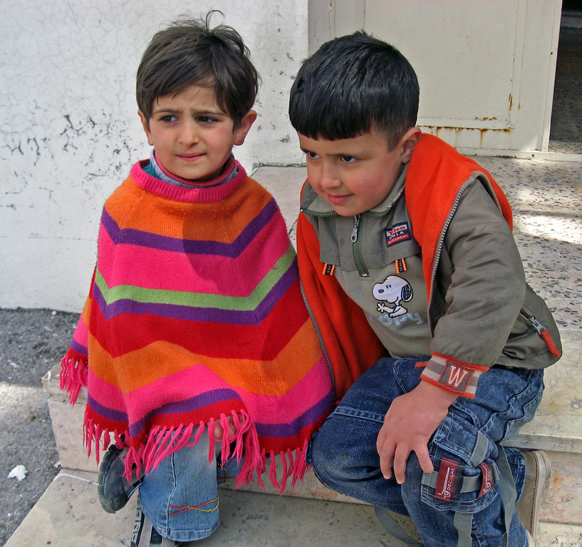Feb 18.  These two boys were sitting on the outside steps when we left the classroom.