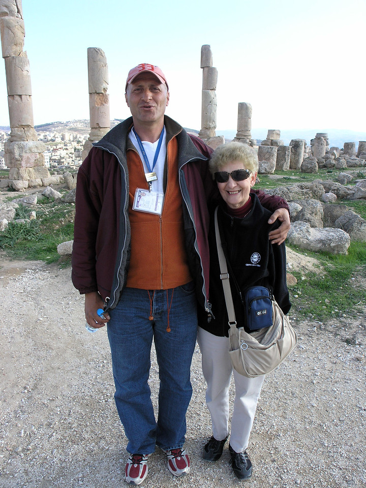 """Feb 18.  Our tour leader, Iyad, pronounced """"Ian,"""" and Betty.  He is 6' 5"""" and is the shortest of three brothers."""