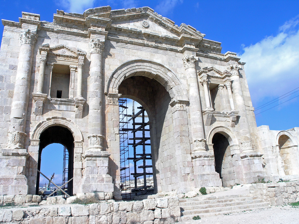 "Feb 18.  Hadrian's Arch was built to commemorate the visit of Emperor Hadrian to Gerasa in 129 A.D.  It was called a ""splendid triumphal arch."""