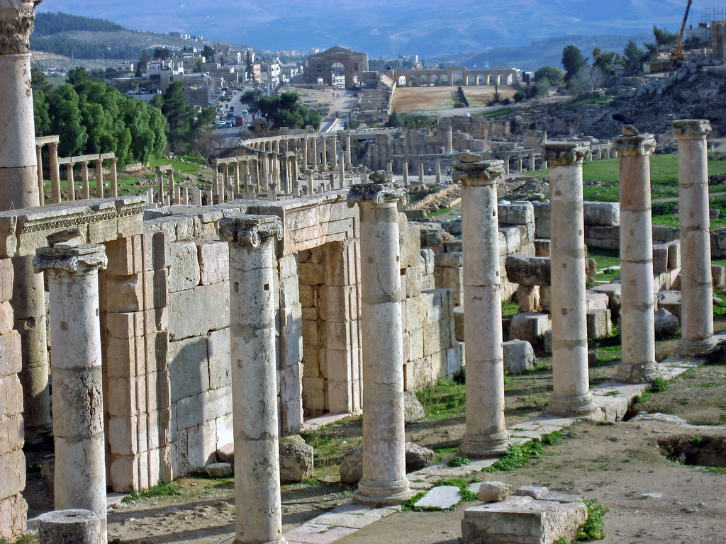 Feb 18.  More Roman ruins in Jarash.  Hadrian's Arch in the distance.