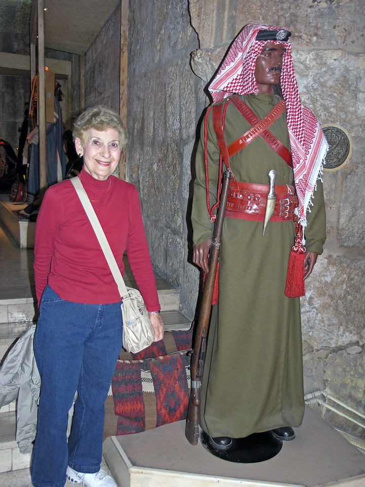 Feb 17.  Betty poses with a typical guard of olden days.  At Petra guards were dressed this way.