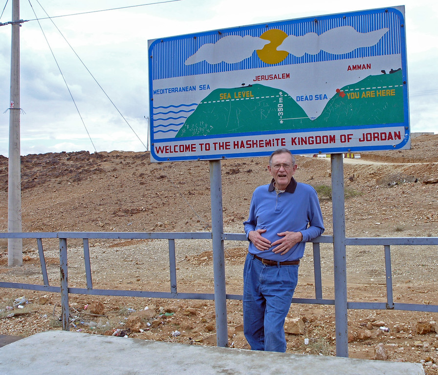 Feb 17.  This sign shows where we are in relation to the Dead Sea.  We are 390 meters (1280 feet) above the Dead Sea.