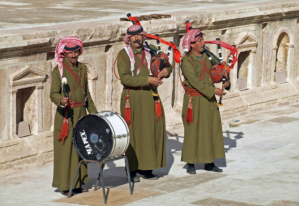 Feb 18.  For many years Great Britain was in Egypt.  At the amphitheater in Jarash these men play bagpipes and drums, and expect a tip.