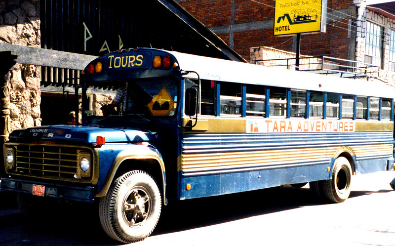 "1999-02-20 26  It's called a chicken bus because everything from people to animals and ""things"" travel on it.  However, we were fortunate that this bus was reserved only for gringos.  It was ""air conditioned"" by opening the windows.  Even parked the air conditioning system is still working."