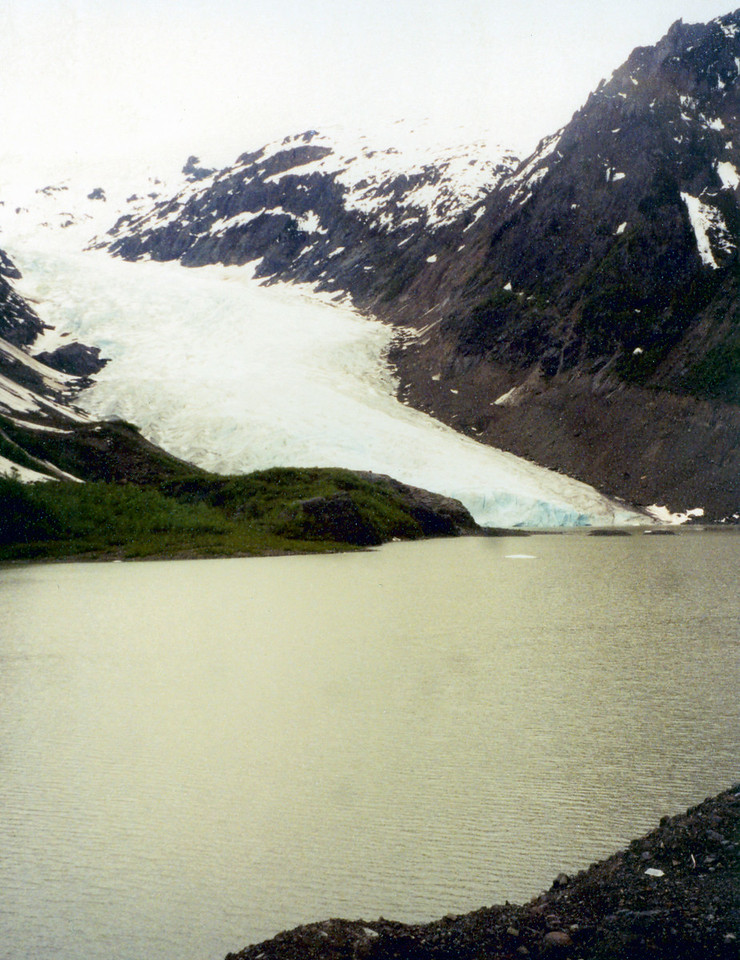 June 2.  On highway 37A are glaciers beside the road.