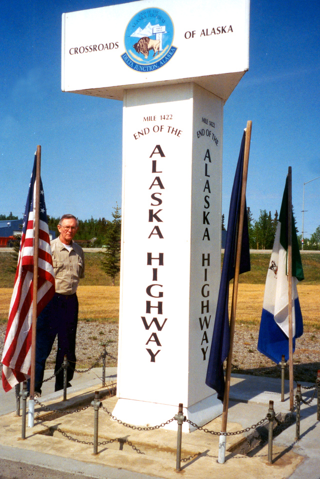 May 28.  This sign in Delta Junction, Alaska, about 86 miles south of Fairbanks, marks the end of the Alaska Highway that runs 1523 miles from Dawson Creek, Yukon, to here, a wonderful drive.