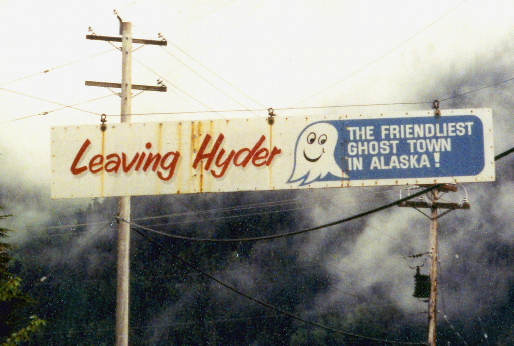 June 2.  Leaving Hyder, one passes under this sign.  Just on the other side of the sign is the Canadian Customs Office.