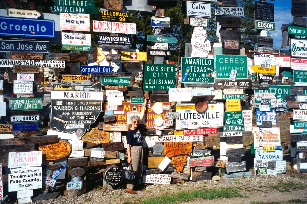 May 26.  Signs at Watson Lake, Yukon.