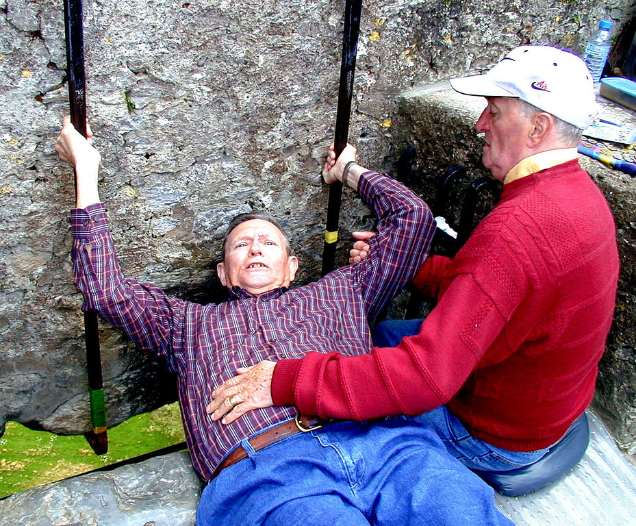 May 16.  Blarney Castle.  Only three of our 12 members chose to climb to the top of the castle to kiss the blarney stone, but why travel 3000 miles and not kiss the blarney stone?  John F. Kennedy did it; Winston Churchill did it; and Betty and I did it.