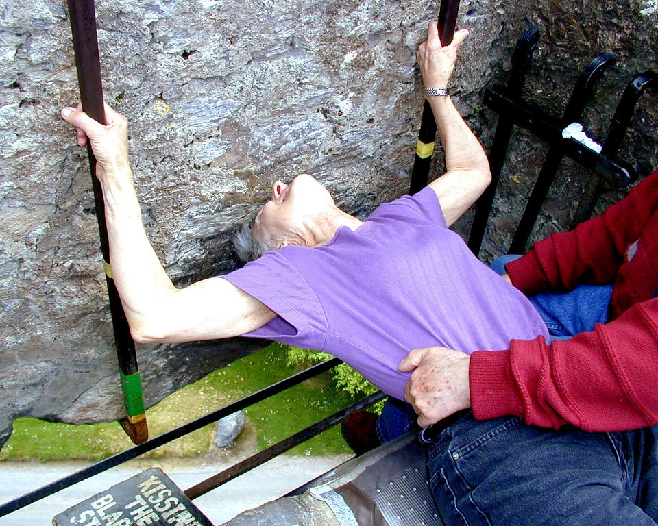 May 16.  Betty gets her turn to kiss the Blarney Stone, over 90 feet above the ground.