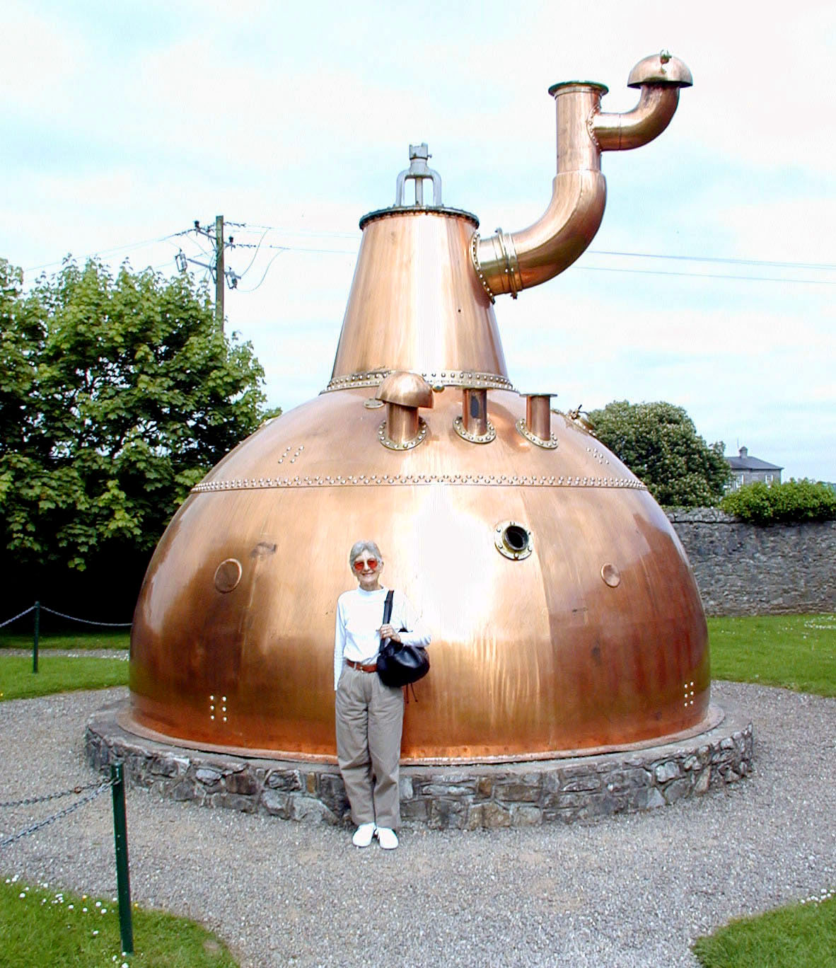 May 17.  At the Old Midleton Distillery, home of Jameson Irish Whiskey, is this large copper pot.  Inside is the largest copper pot in the world, much larger than this one.