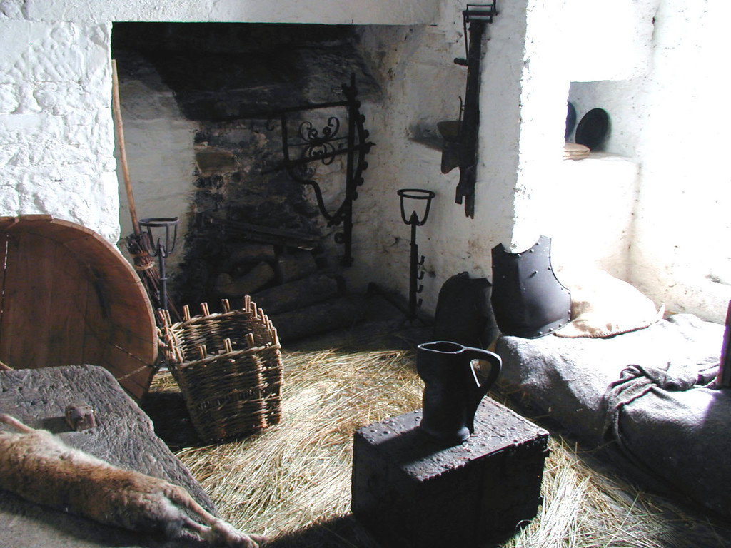 May 15.  A room exhibit at Craggaunowen, typical of a knight's room, it said.  Very sparse and very small, and a recently killed rabbit awaits preparation.