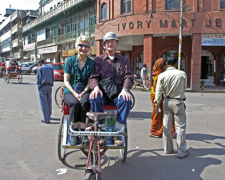 Feb 26.  Our ride ended at WalMart, I mean Ivory Mart.  That's a jewelry store.  Our driver took our picture before we got down from the rickshaw.