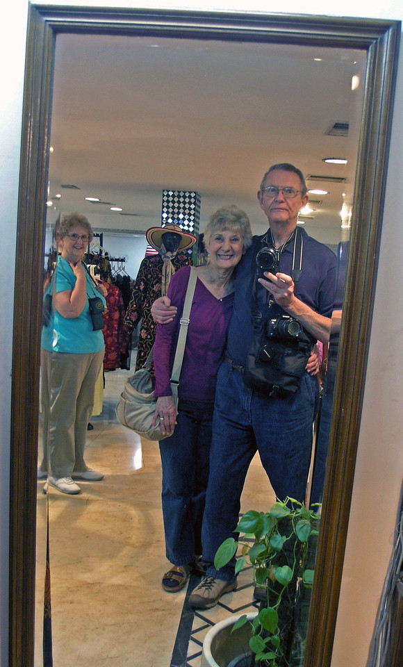 Feb 27.  After the demonstration we wandered around.  I made our picture in this full-length mirror while Barbara watches.