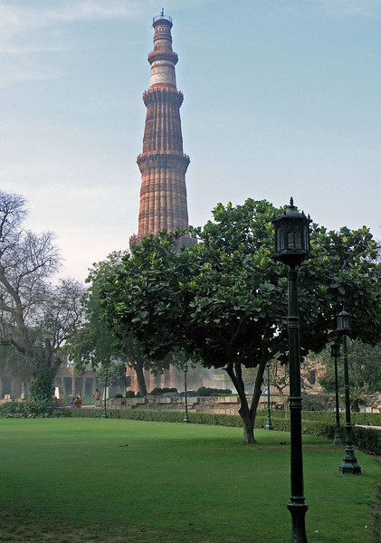 Feb 27.  The world's tallest brick minaret, called the Qutab Minar.  The diameter of the base is 47 feet; the top floor is 9.1 feet in diameter.