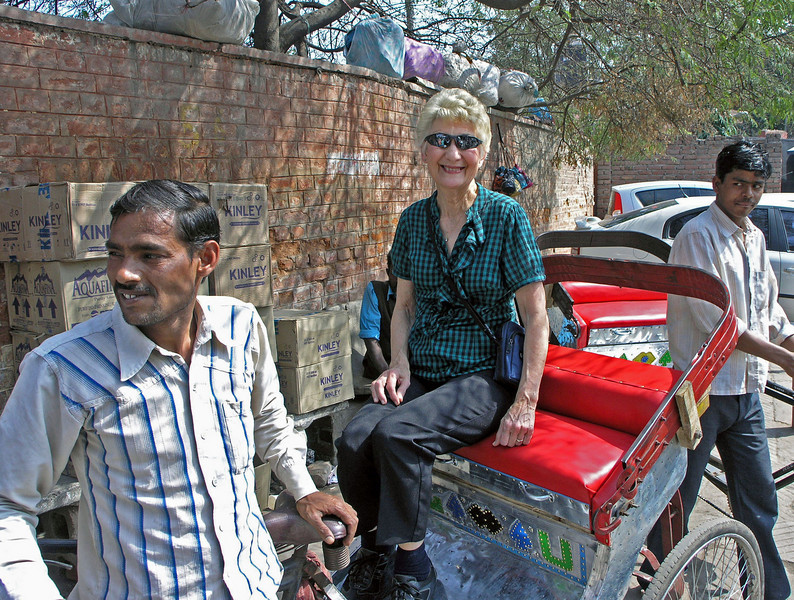 Feb 26.  Loading onto our rickshaw for the first of two rickshaw rides.  Indian rickshaws are three-wheeled bicycles.