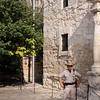 An officer keeping the peace at the Alamo