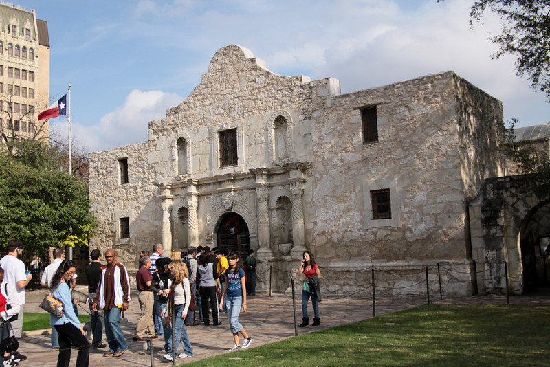 Waiting in line to enter the Alamo