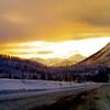 2 05 mile 925  Alaska Hwy, Summit Klondike Loop Jct,  looking S toward Haines Jct, Yukon Terr,  nov 27, 1972-1a
