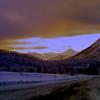 2 05 mile 925  Alaska Hwy, Summit Klondike Loop Jct,  looking S toward Haines Jct, Yukon Terr,  nov 27, 1972-1