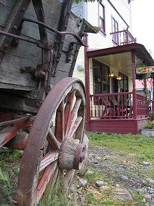 Ma Johnson hotel and wagon wheel in McCarthy, Alaska