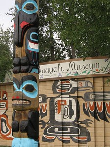 Totem pole and eagle mural in Fairbanks, Alaska