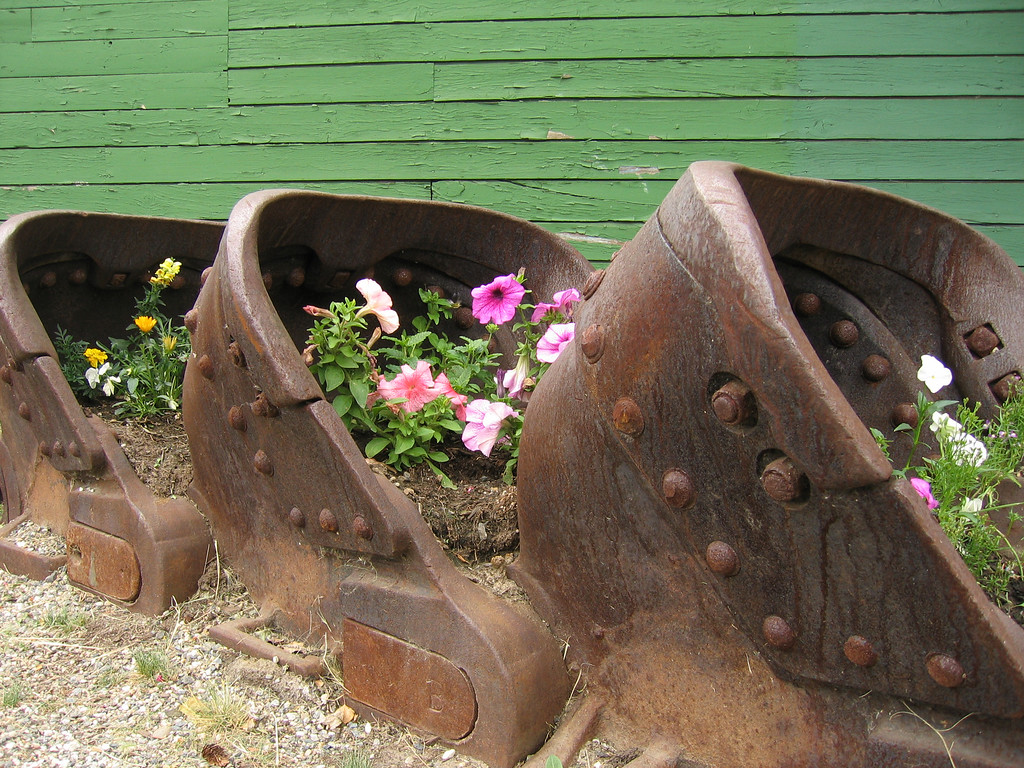 Mining cars and flowers in Fairbanks, Alaska