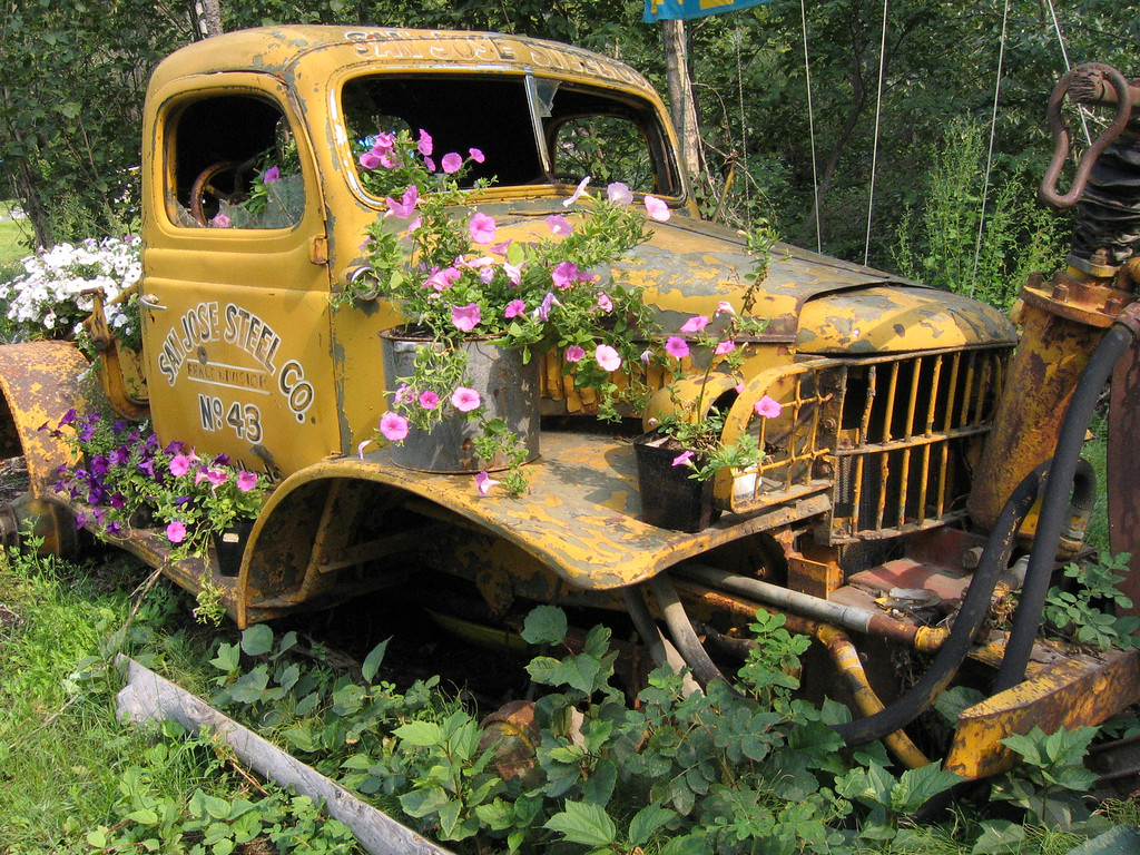 San Jose Steel Co truck with flowers in Chitna, Alaska