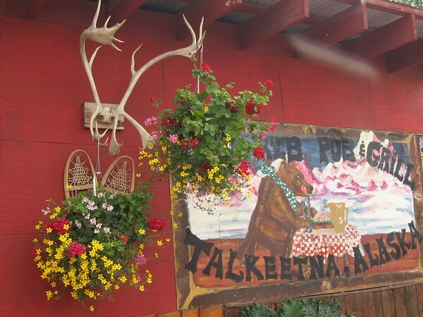 Pub Grill Antlers and flowers in Talkeetna, Alaska