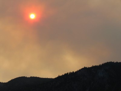 Wild fire sun in Eastern Alaska