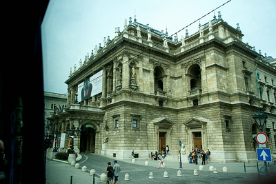 Budapest Opera House, with composers' statues on the roof line.