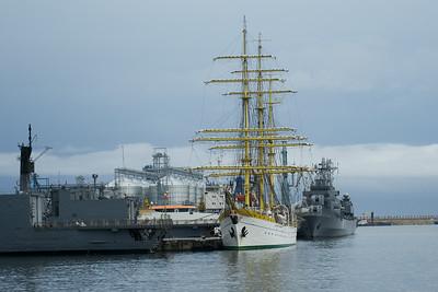 Tall ship, in the Black Sea port of Constanta, Romania