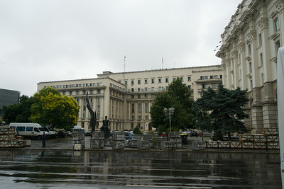 Ceausescu's government HQ, where he was jeered at what became his last speech. He was taken away by helicopter, but tried days later and executed on Dec 25, 1989 with his wife Elena