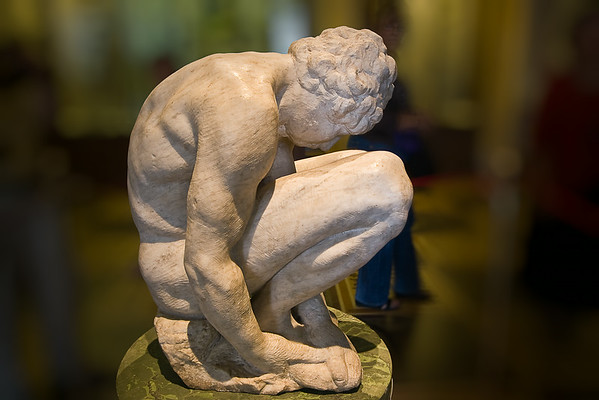 Crouching Boy by Michelangelo; this figure is the only work by Michelangelo in the Hermitage